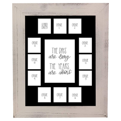 School Picture Frame, White Frame, Black Mat, Pick Number of Openings & Middle Artwork - Rustic Red Door Co.