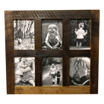Reclaimed Wood Picture Frame, 6 Openings, 20 x 18 - Rustic Red Door Co.