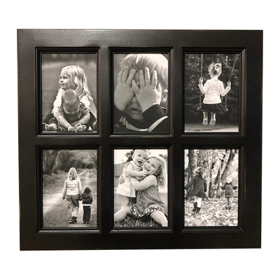 Black Paint Window Style Picture Frame, 6 Openings, 20 x 18 - Rustic Red Door Co.
