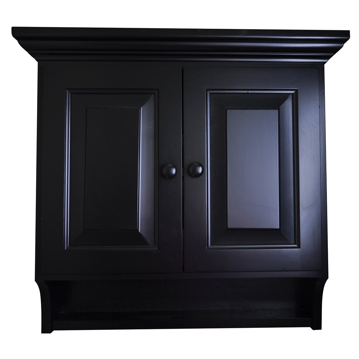 Wooden Medicine Cabinet Brown Maple Wood Black Paint