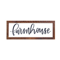 """Farmhouse"" Sign, 12x36, Reclaimed Wood Frame - Rustic Red Door Co."