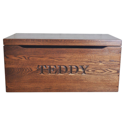 "Engraved Toy Chest, Oak Wood, Multiple Stains, 24"" - Rustic Red Door Co."