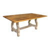 Alma Dining Table, Reclaimed Wooden Top, Distressed White Base - Rustic Red Door Co.