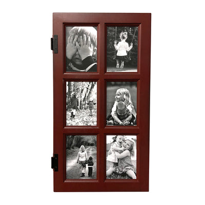 "Red Paint Window Style Picture Frame, 6 Openings, 25"" x 13"" - Rustic Red Door Co."