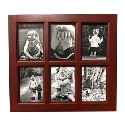 Red Paint Window Style Picture Frame, 6 Openings, 20 x 18 - Rustic Red Door Co.