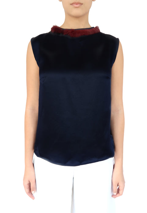 Navy Silk top  with Burgundy Fur Trim