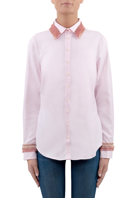 Pink Shirt with Fringing Details