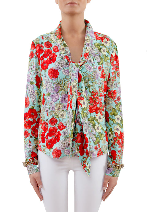 Sicilian Bloom Silk Blouse with Embellished Jewels
