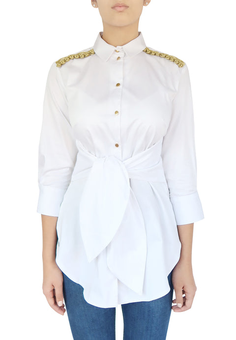 White Shirt with Golden Military Details - Kate