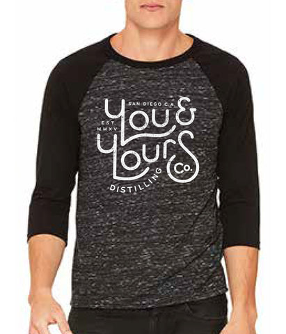 3/4 Sleeve Baseball Tee, Black/White (Unisex)