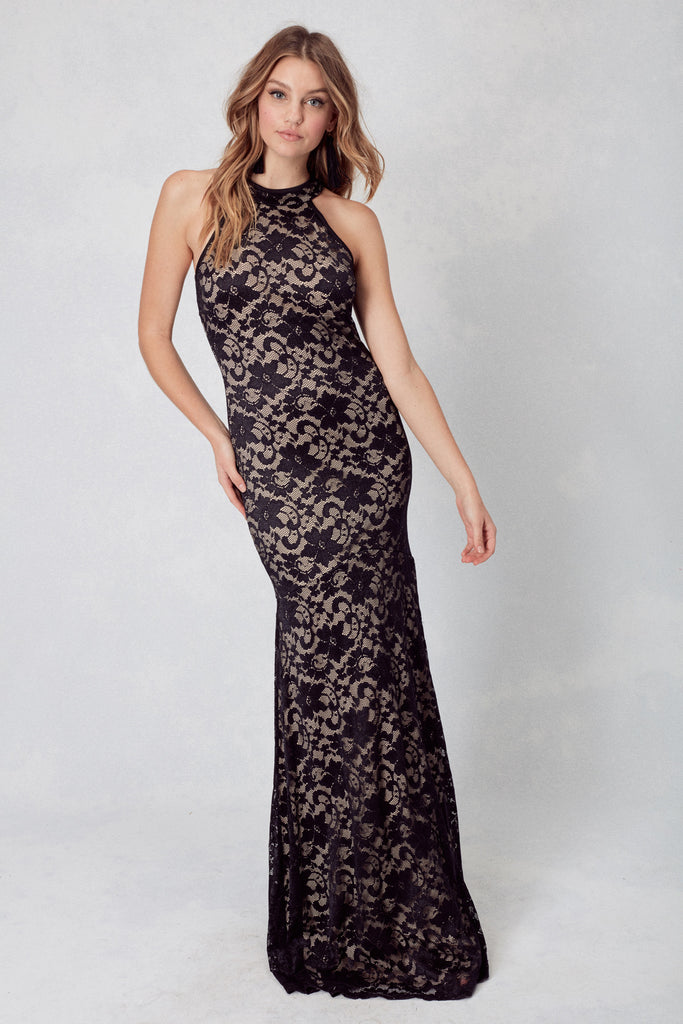Los Angeles Lace High Neck Gown in Black