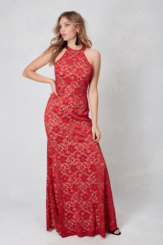 Los Angeles Lace High Neck Gown in Red