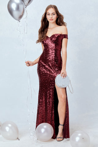 Spotlight Statement Sequin Maxi Dress in Burgundy