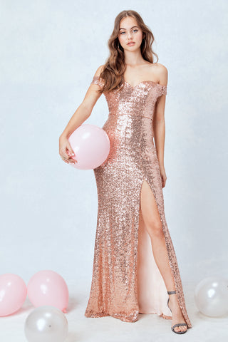 Spotlight Statement Sequin Maxi Dress in Rose Gold