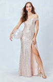 Spotlight Statement Sequin Maxi Dress in Blush
