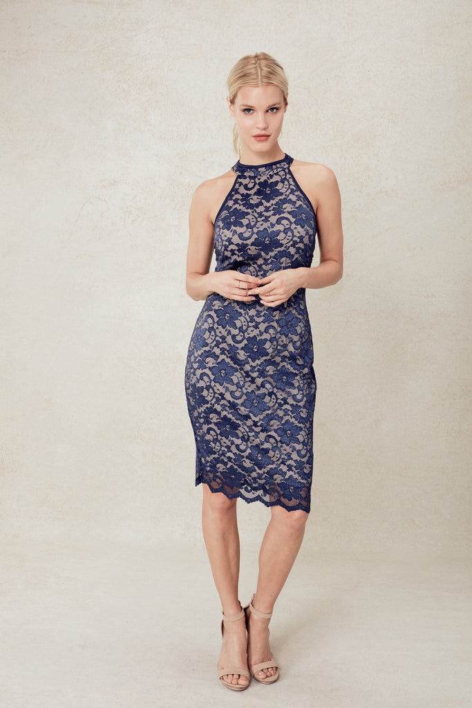 Forget Me Not Flower Lace Dress in Navy