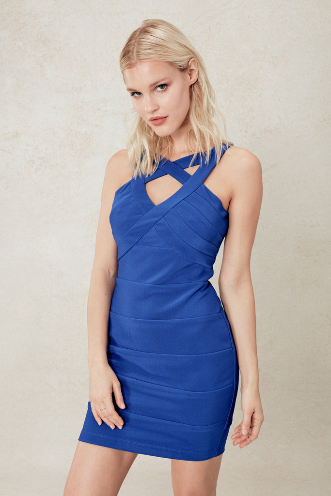 Fire Hot Harness Bodycon in Royal