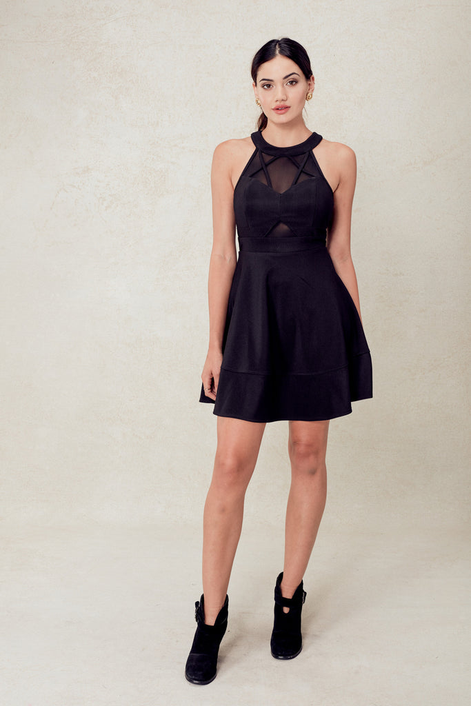 Sunset Boulevard Illusion Skater Dress in Black