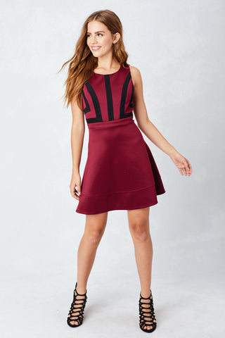 Geo Illusion Skater Dress
