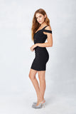 Off Shoulder Sweetheart Bodycon in Black