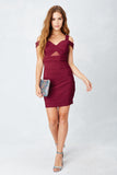 Off Shoulder Sweetheart Bodycon in Wine
