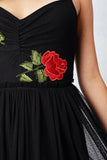 Red Roses Illusion Maxi Dress