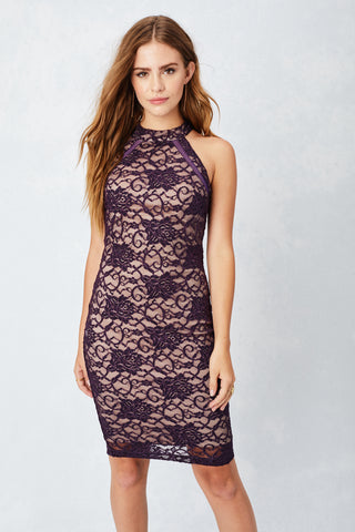 Enchanted Lace Midi Dress in Plum