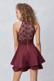 Illusion Fit & Flare Dress in Wine/ Nude