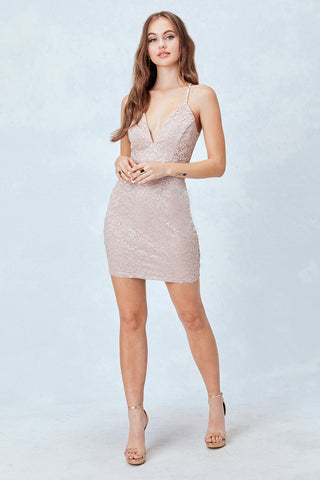 All over Glitter Quartz Lace Body-Con dress