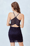 All over Glitter Navy Lace Body-Con dress