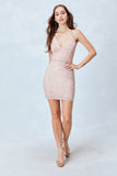 All over Glitter Rose Lace Body-Con dress