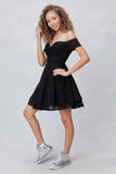 Off-Shoulder Lace A-Line Dress in Black