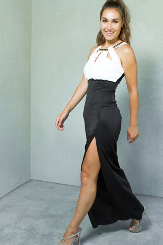 Love Goddess Gown in Black / Ivory