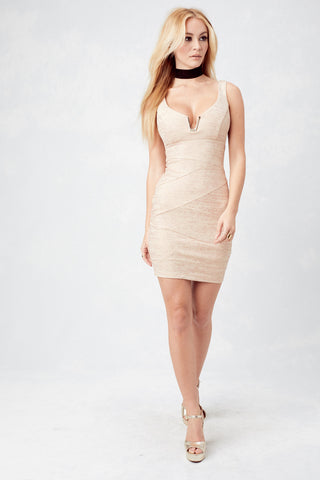 Bryana Holly Stay Gold Bodycon