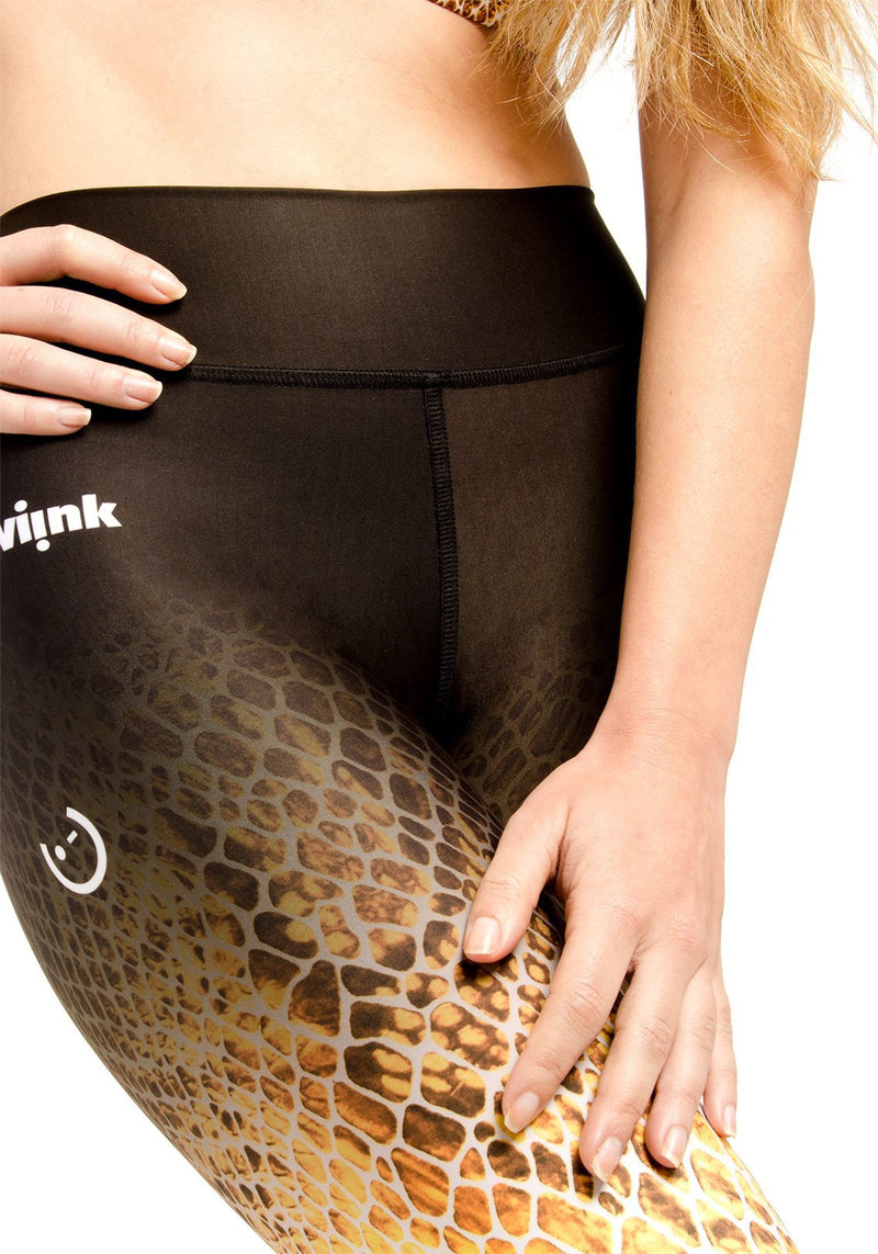 HIGH-WAIST Leggings - Yellow Reptil