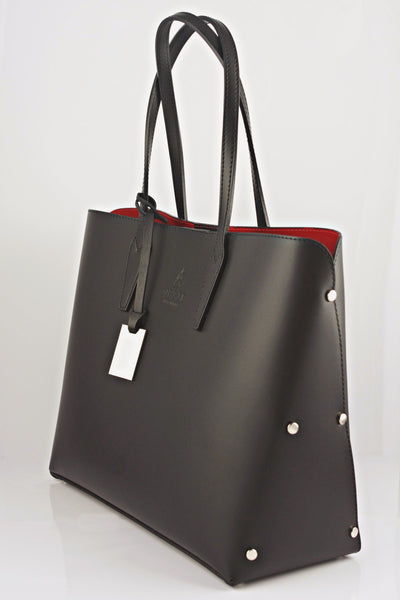 leather handbagSERAFINA - Black Leather Shopper Bag  LAROCCO