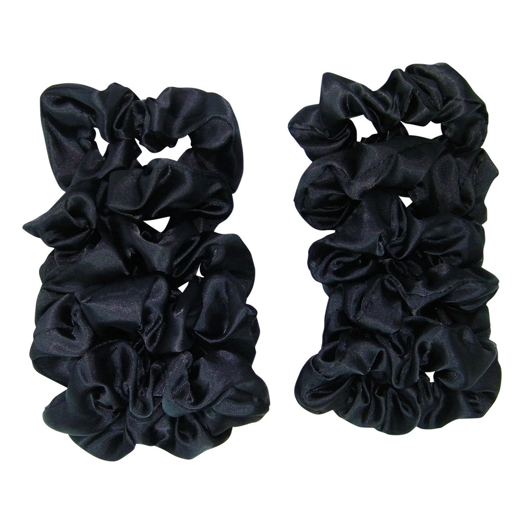 10 Pack Bundle Satin Scrunchie's Black