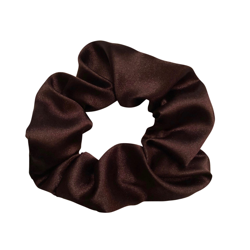 Dark Brown Satin Scrunchie
