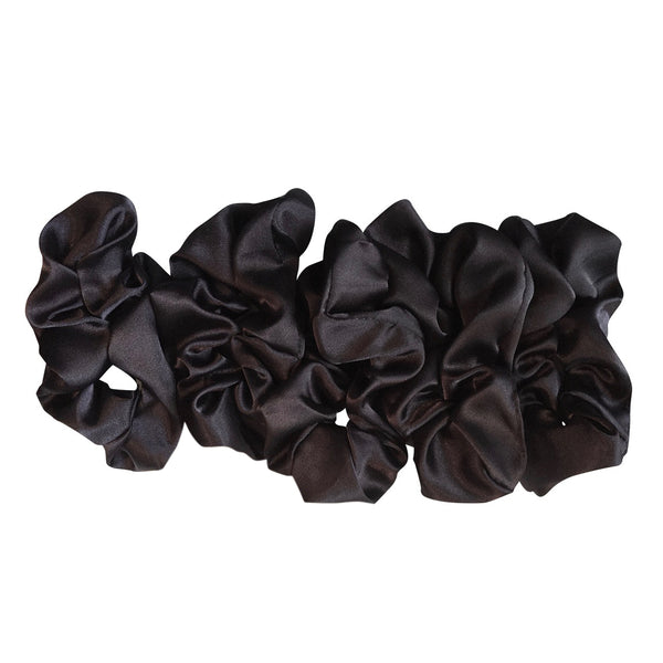 5 Pack Bundle Satin Scrunchie's--Black