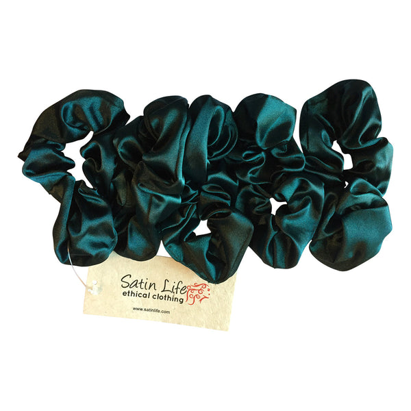 5 Pack Bundle Satin Scrunchie's--Deep Emerald