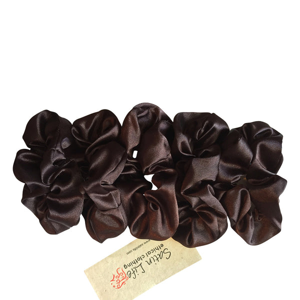 5 Pack Bundle Satin Scrunchie's--DARK BROWN