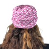 Pink Herringbone--ELASTIC BAND Satin Lined Cap