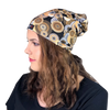 Gold & Black Circles--ELASTIC BAND Satin Lined Cap