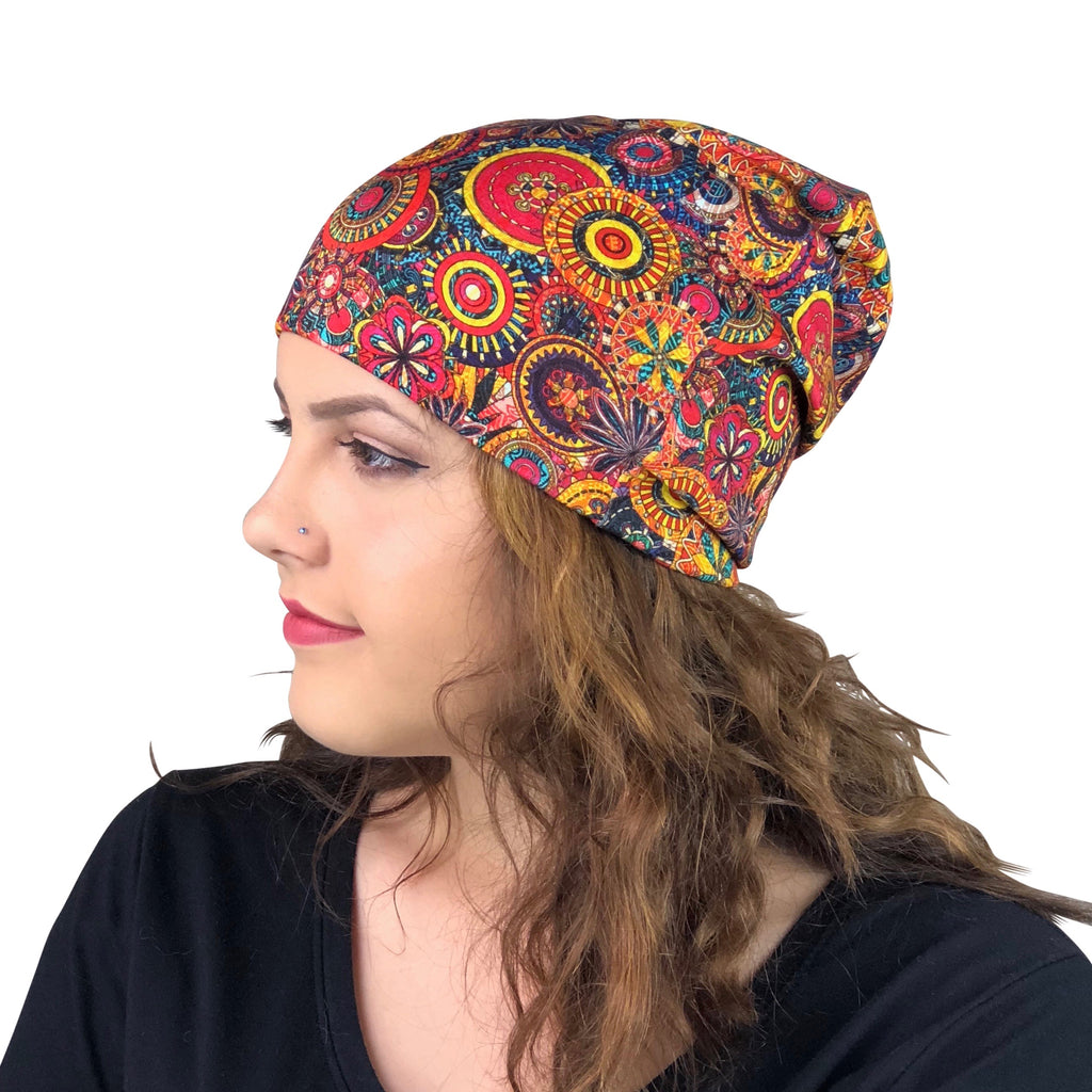 Geometric Floral --ELASTIC BAND Satin Lined Cap