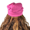 BAMBOO Berry Pink--ELASTIC BAND Satin Lined Cap