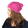BAMBOO Berry Pink--ADJUSTABLE DRAWSTRING Satin Lined Cap