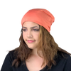 BAMBOO Bright Coral--ADJUSTABLE DRAWSTRING Satin Lined Cap