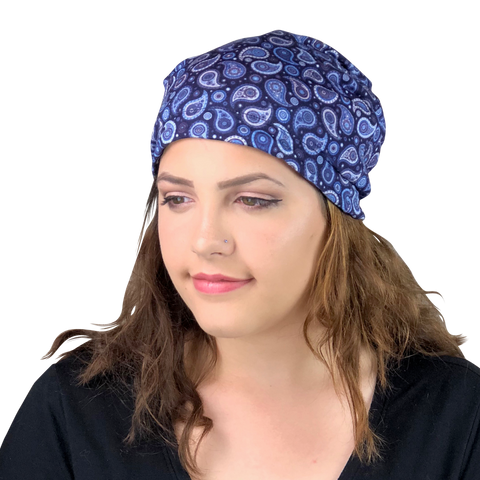 Blue Paisley--ADJUSTABLE DRAWSTRING Satin Lined Cap