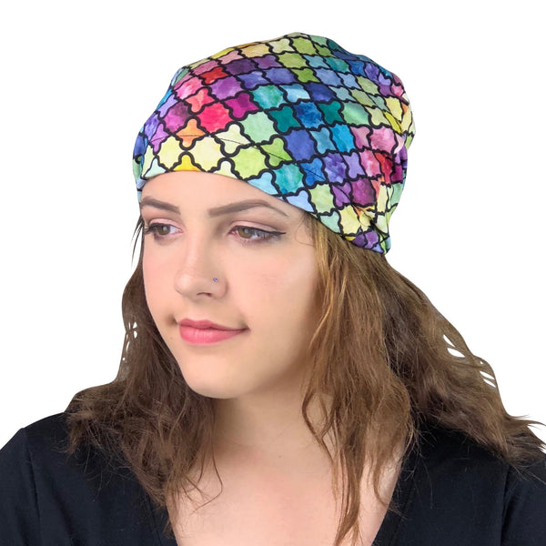 Watercolor--ADJUSTABLE DRAWSTRING Satin Lined Cap