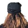 Black--ADJUSTABLE DRAWSTRING Satin Lined Cap